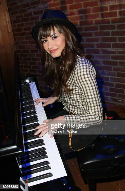 Musician Demi Lovato performs at her Disney Upfront presentation on April 8 2008 in New York City