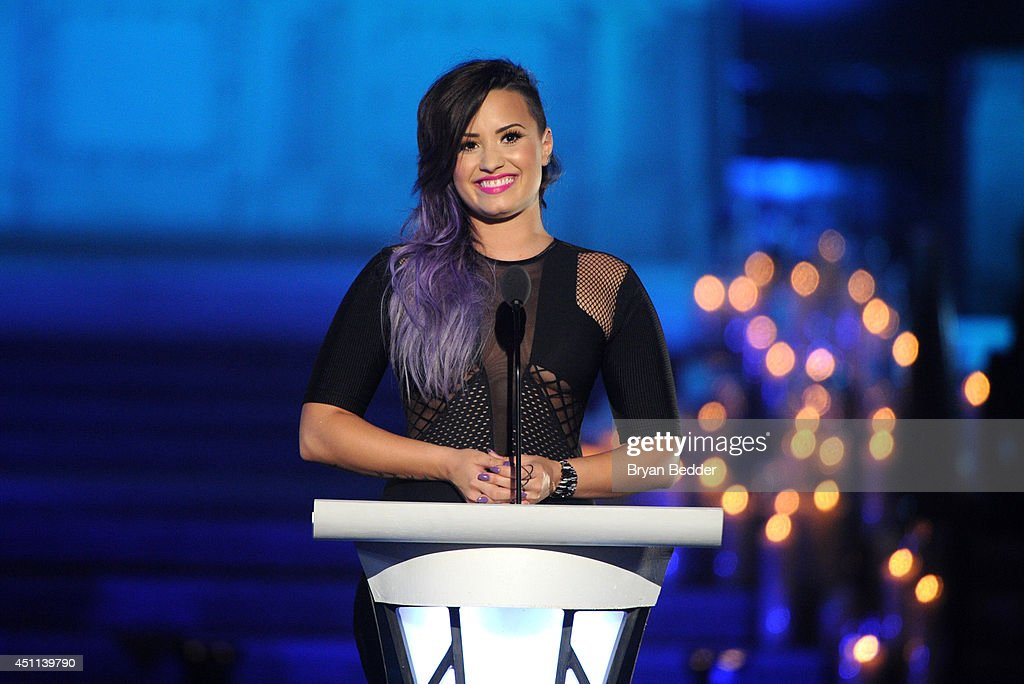 Musician <a gi-track='captionPersonalityLinkClicked' href=/galleries/search?phrase=Demi+Lovato&family=editorial&specificpeople=4897002 ng-click='$event.stopPropagation()'>Demi Lovato</a> speaks onstage during Logo TV's 'Trailblazers' at the Cathedral of St. John the Divine on June 23, 2014 in New York City.