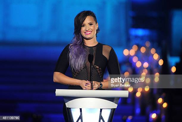 Musician Demi Lovato speaks onstage during Logo TV's 'Trailblazers' at the Cathedral of St John the Divine on June 23 2014 in New York City