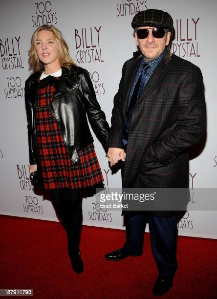 Musician Diana Krall and Elvis Costello attend Billy Crystal's '700 Sundays' Broadway opening night at Imperial Theatre on November 13 2013 in New...