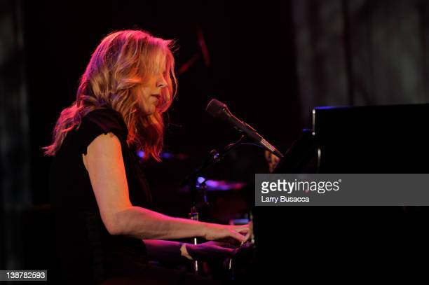 Musician Diana Krall onstage at Clive Davis and the Recording Academy's 2012 PreGRAMMY Gala and Salute to Industry Icons Honoring Richard Branson...
