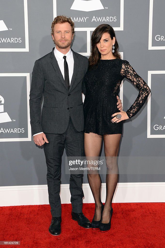 Musician <a gi-track='captionPersonalityLinkClicked' href=/galleries/search?phrase=Dierks+Bentley&family=editorial&specificpeople=243007 ng-click='$event.stopPropagation()'>Dierks Bentley</a> (L) and Cassidy Black arrive at the 55th Annual GRAMMY Awards at Staples Center on February 10, 2013 in Los Angeles, California.