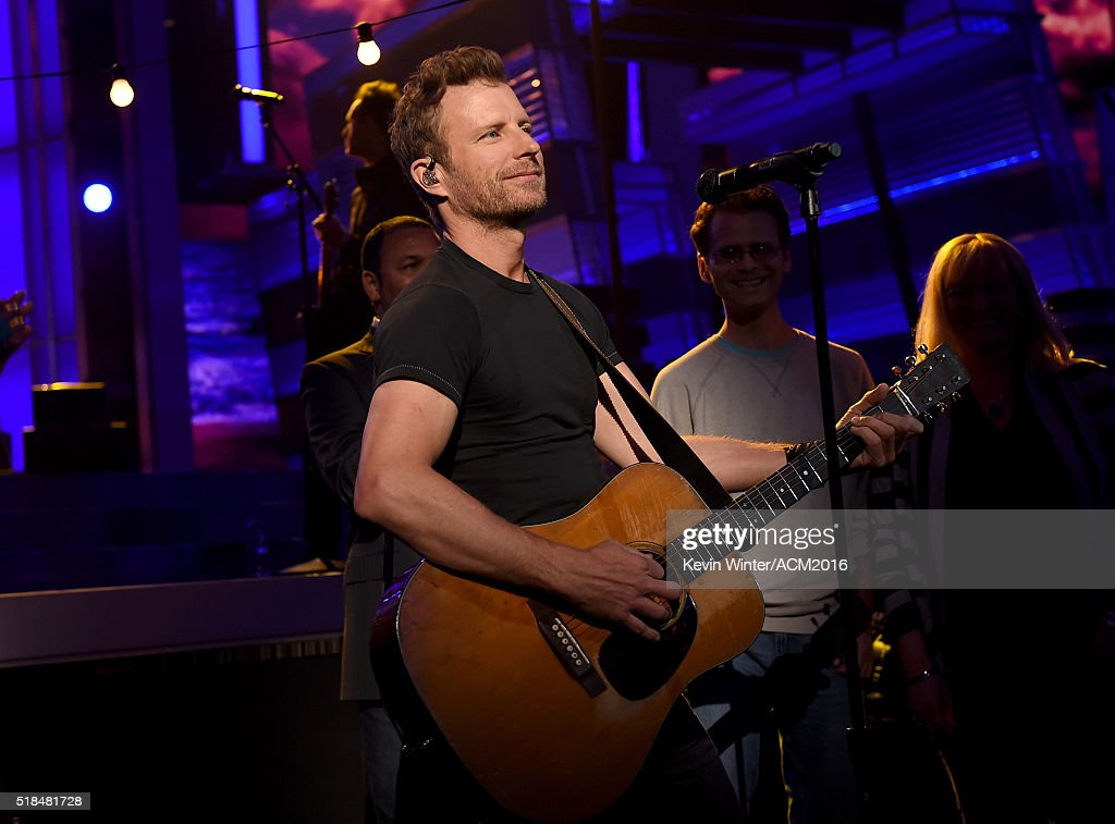 Musician <a gi-track='captionPersonalityLinkClicked' href=/galleries/search?phrase=Dierks+Bentley&family=editorial&specificpeople=243007 ng-click='$event.stopPropagation()'>Dierks Bentley</a> rehearses onstage during the 51st Academy of Country Music Awards at MGM Grand Garden Arena on March 31, 2016 in Las Vegas, Nevada.