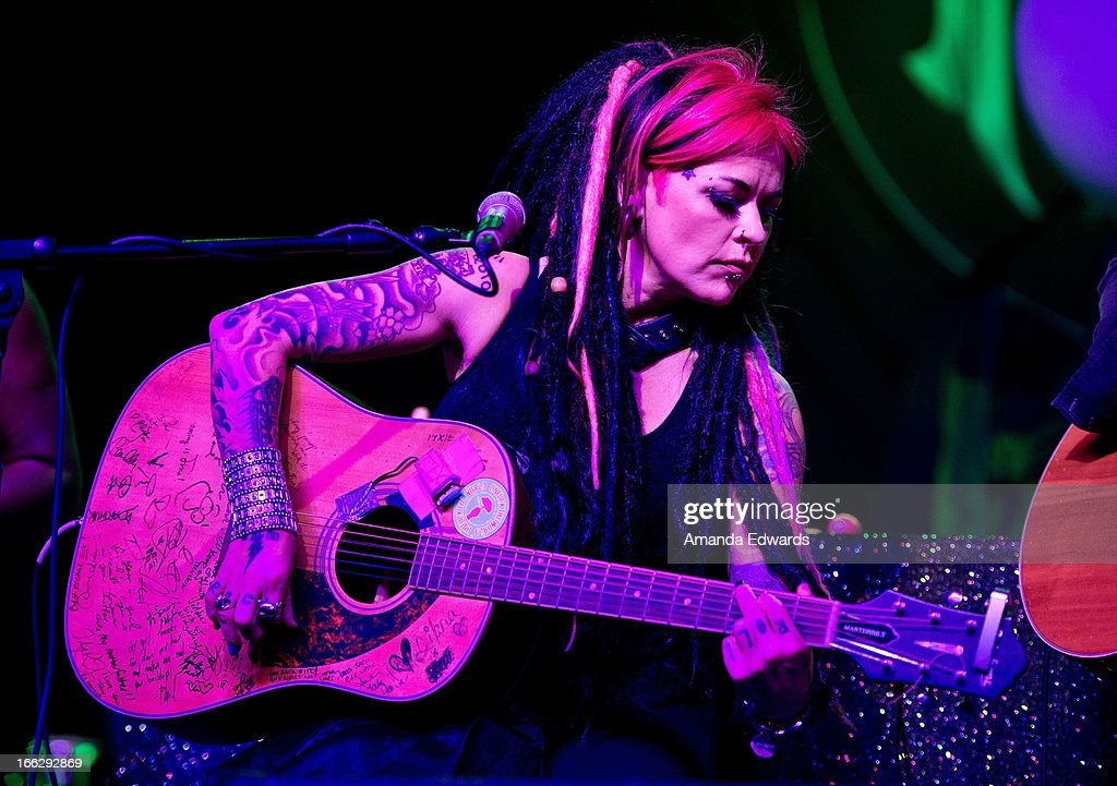 Musician Dilana Robichaux performs onstage at the Heaven And Earth 'Dig' world premiere album release party at The Fonda Theatre on April 10, 2013 in Los Angeles, California.
