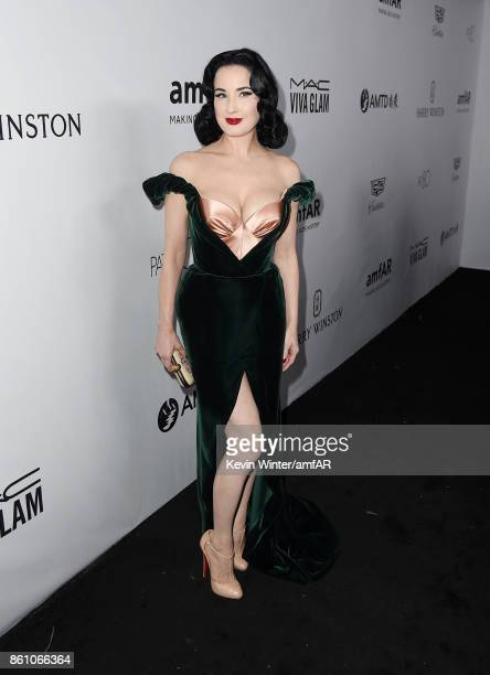 Musician Dita Von Teese attends the amfAR Gala Los Angeles 2017 at Ron Burkle's Green Acres Estate on October 13 2017 in Beverly Hills California