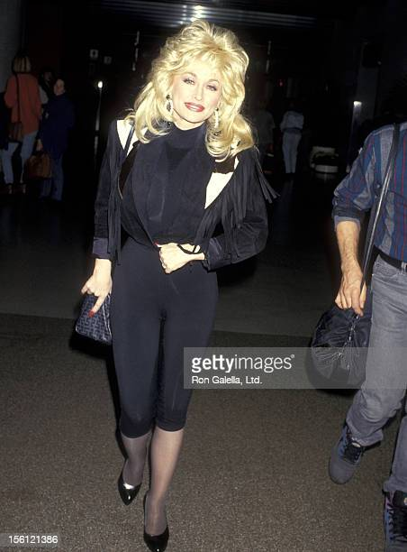 Musician Dolly Parton on February 4 1993 arriving at the Los Angeles International Airport in Los Angeles California