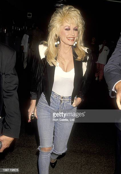 Musician Dolly Parton on October 26 1993 departing from the Los Angeles International Airport in Los Angeles California