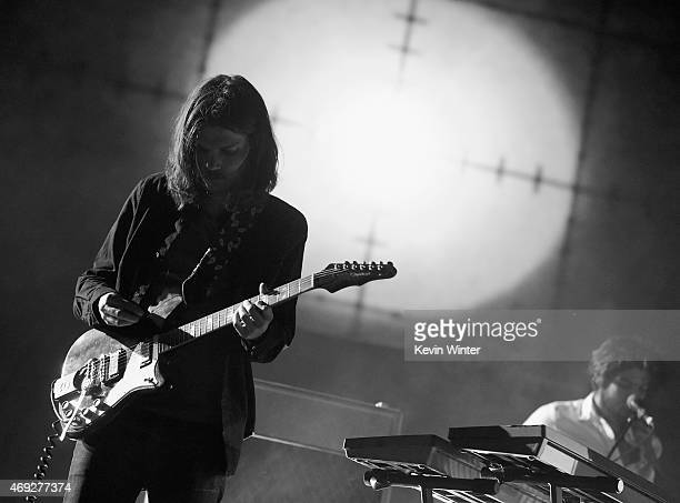 Musician Dominic Simper of Tame Impala performs onstage during day 1 of the 2015 Coachella Valley Music Arts Festival at The Empire Polo Club on...