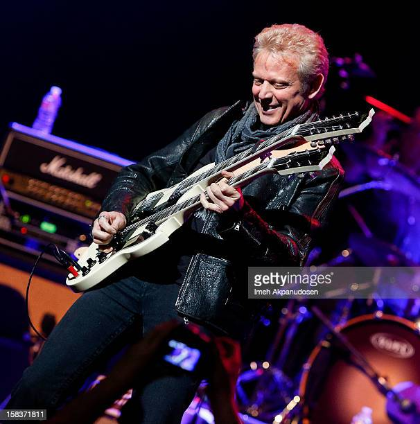 Musician Don Felder of the Eagles performs with the KLOS All Star Band at the 955 KLOS Christmas Show held at Nokia Theatre LA Live on December 13...