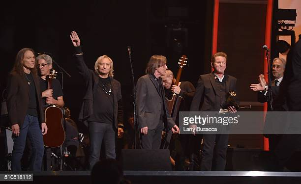 Musician Don Henley of the Eagles accepts the band's 1977 Record of the Year award for 'Hotel California' onstage during The 58th GRAMMY Awards at...