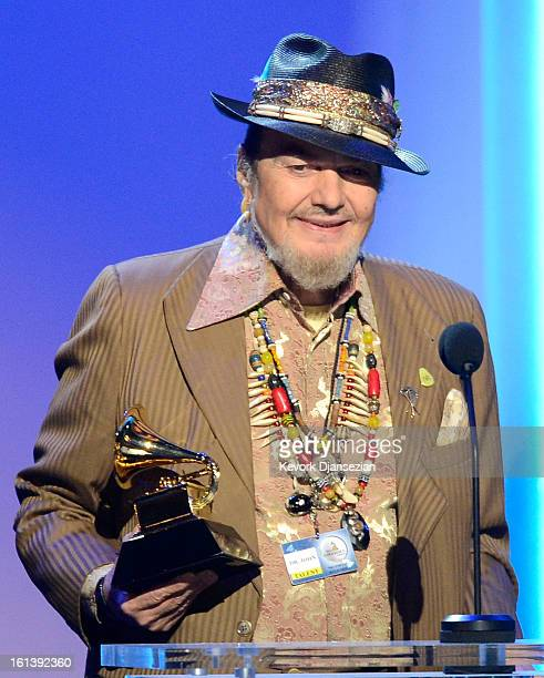 Musician Dr John accepts Best Blues Album award for 'Locked Down' onstage at the The 55th Annual GRAMMY Awards at Nokia Theatre on February 10 2013...