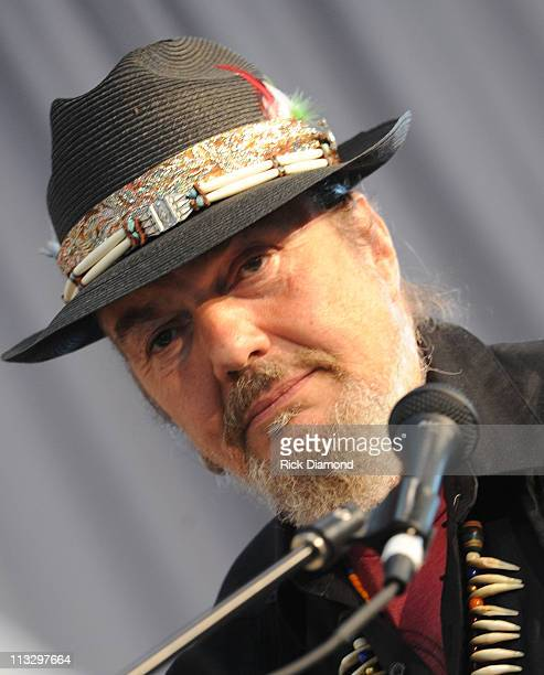 Musician Dr John is interviewed during the 2011 New Orleans Jazz Heritage Festival Day 2 presented by Shell at The Fair Grounds Race Course on April...