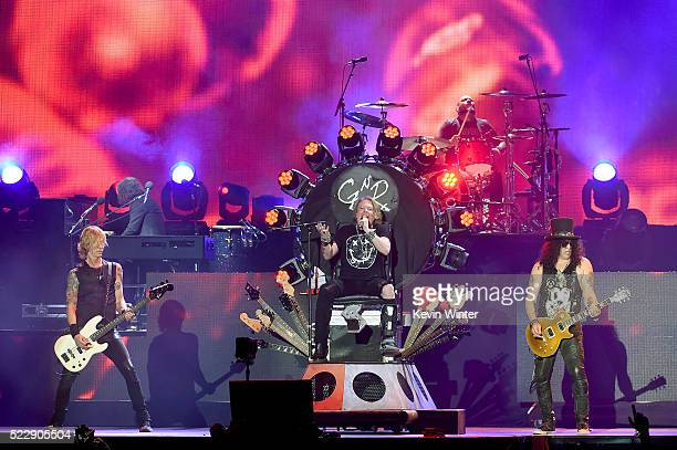 Musician Duff McKagan singer Axl Rose and musician Slash of Guns N' Roses perform onstage during day 2 of the 2016 Coachella Valley Music Arts...