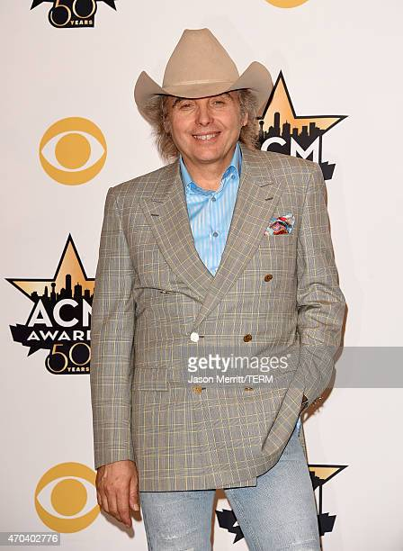 Musician Dwight Yoakam poses in the press room at the 50th Academy of Country Music Awards at ATT Stadium on April 19 2015 in Arlington Texas
