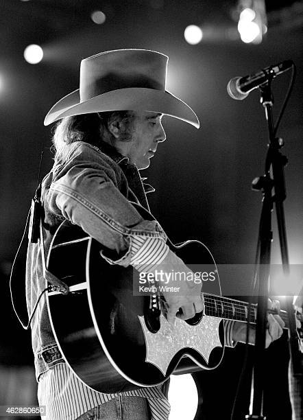 Musician Dwight Yoakam rehearses onstage during The 57th Annual GRAMMY Awards at the Staples Center on February 6 2015 in Los Angeles California