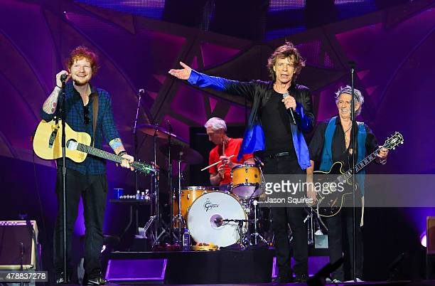 Musician Ed Sheeran joins The Rolling Stones during The Rolling Stones North American 'ZIP CODE' Tour at Arrowhead Stadium on June 27 2015 in Kansas...