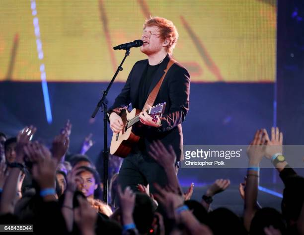 Musician Ed Sheeran performs onstage at the 2017 iHeartRadio Music Awards which broadcast live on Turner's TBS TNT and truTV at The Forum on March 5...