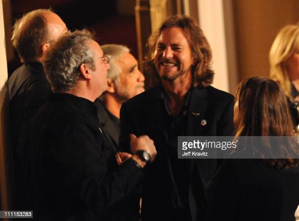 Musician Eddie Vedder attends the 25th Annual Rock and Roll Hall of Fame Induction Ceremony at the Waldorf=Astoria on March 15 2010 in New York City