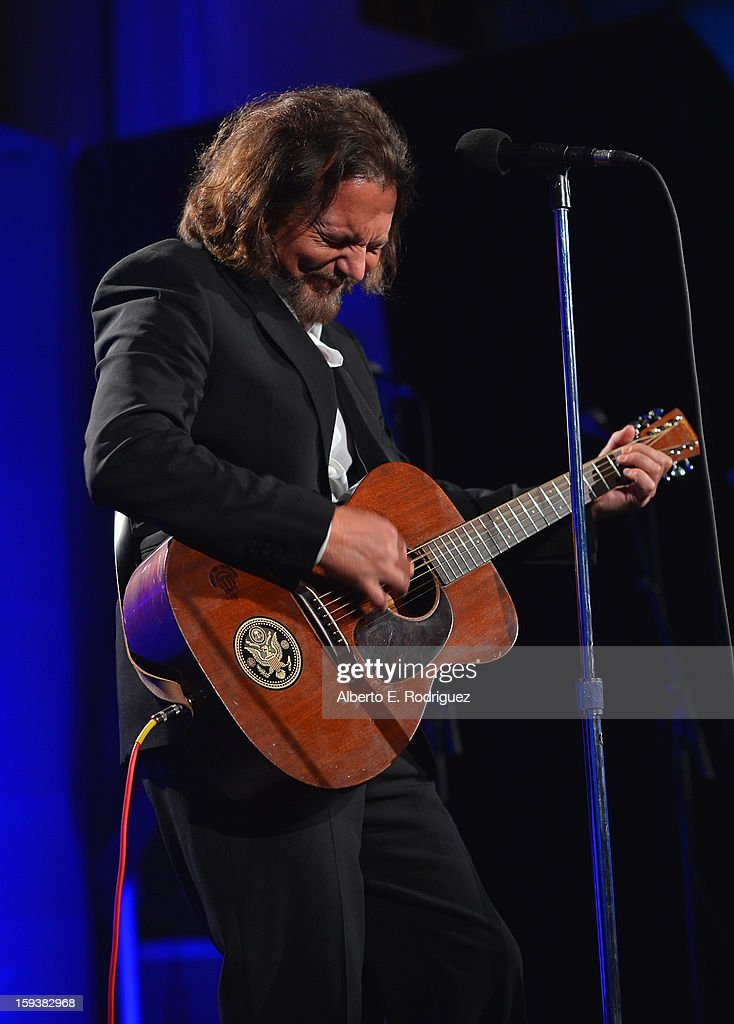 Musician Eddie Vedder attends the 2nd Annual Sean Penn and Friends Help Haiti Home Gala benefiting J/P HRO presented by Giorgio Armani at Montage Hotel on January 12, 2013 in Los Angeles, California.