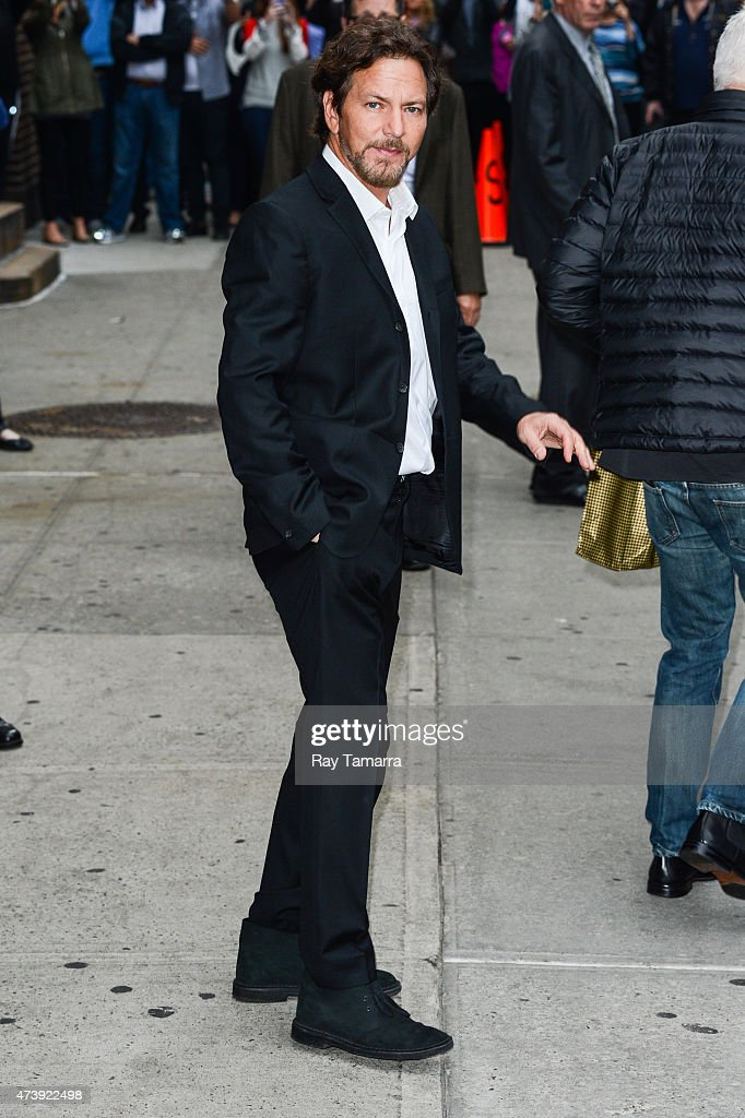 Musician Eddie Vedder leaves the 'Late Show With David Letterman' taping at the Ed Sullivan Theater on May 18, 2015 in New York City.