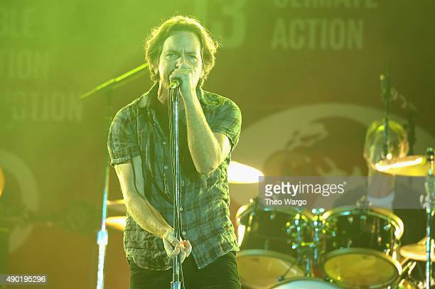 Musician Eddie Vedder of Pearl Jam performs on stage at the 2015 Global Citizen Festival to end extreme poverty by 2030 in Central Park on September...