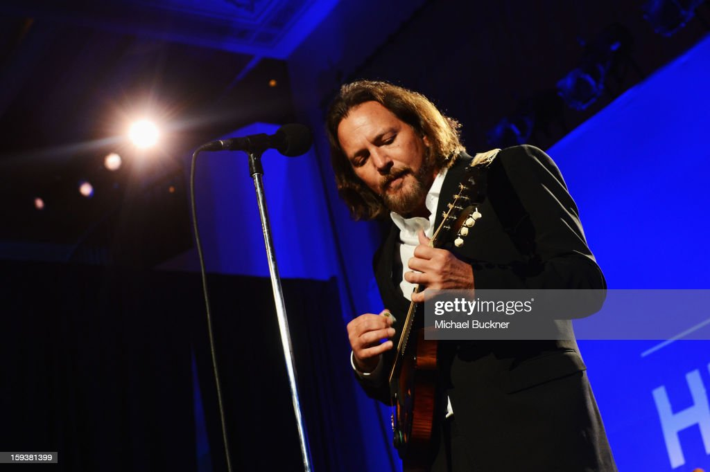 Musician Eddie Vedder performs at the 2nd Annual Sean Penn and Friends Help Haiti Home Gala benefiting J/P HRO presented by Giorgio Armani at Montage Hotel on January 12, 2013 in Los Angeles, California.