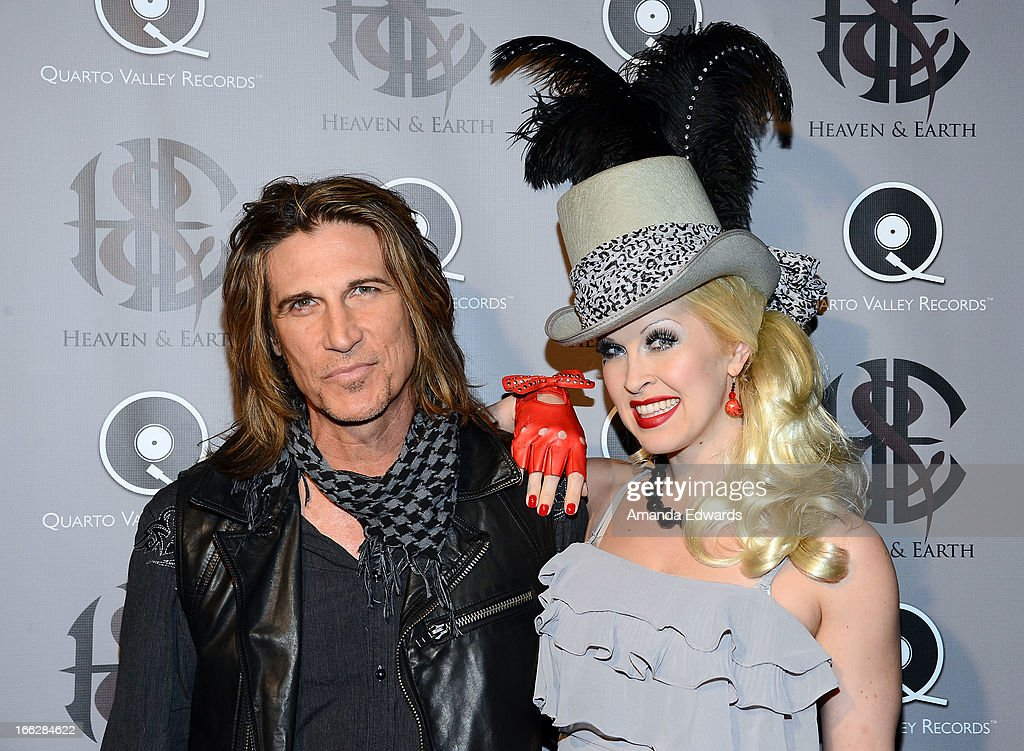 Musician EJ Curse (L) and singer Heather E. Lounsbury arrive at the Heaven and Earth 'Dig' world premiere album release party at The Fonda Theatre on April 10, 2013 in Los Angeles, California.