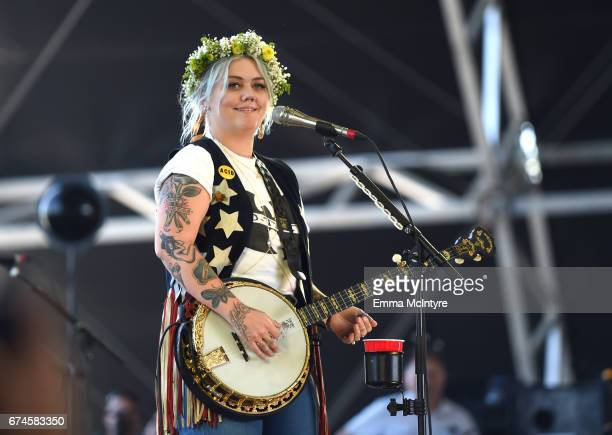 Musician Elle King performs in the Palomino Tent during day 1 of 2017 Stagecoach California's Country Music Festival at the Empire Polo Club on April...
