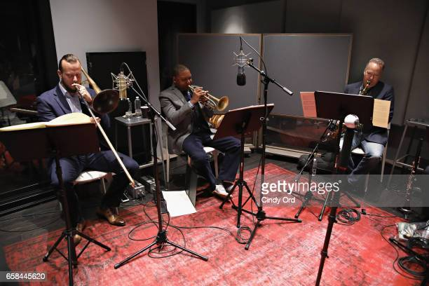 Musician Elliot Mason Wynton Marsalis and Ted Nash perform the music of John Lewis at Spotify Studio for Jazz at Lincoln Center's Blue Engine Records...