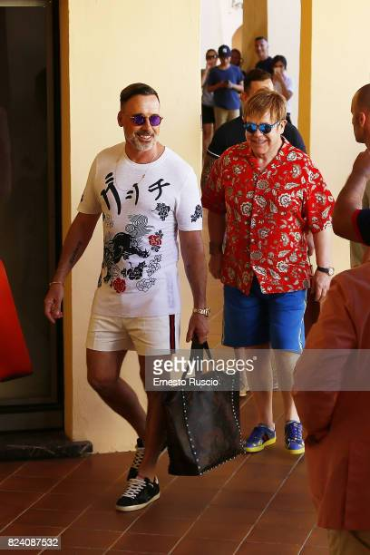 Musician Elton John and David Furnish are seen in Portocervo on July 28 2017 in Porto Cervo Italy