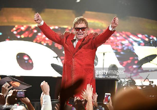 Musician Elton John performs at the Barclays Center on December 31 2014 in the Brooklyn borough of New York City This was the first time he has...