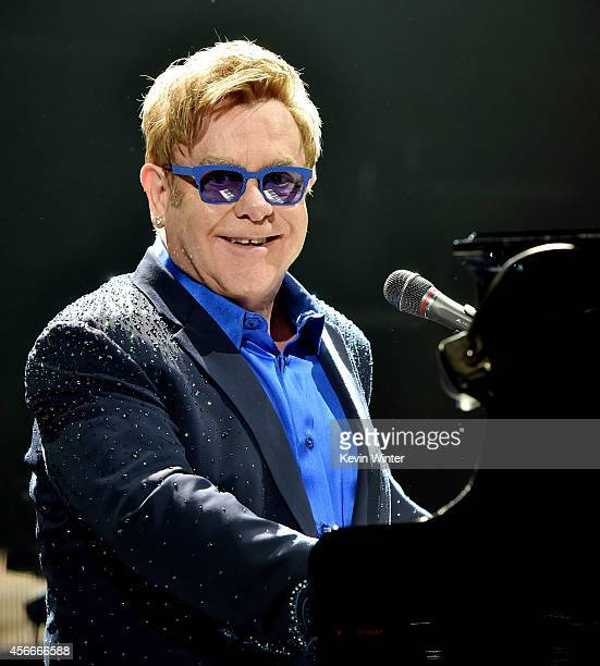 Musician Elton John performs at the Staples Center on October 4 2014 in Los Angeles California