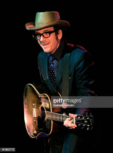 Musician Elvis Costello performs on stage at the Enmore Theatre on October 15 2009 in Sydney Australia