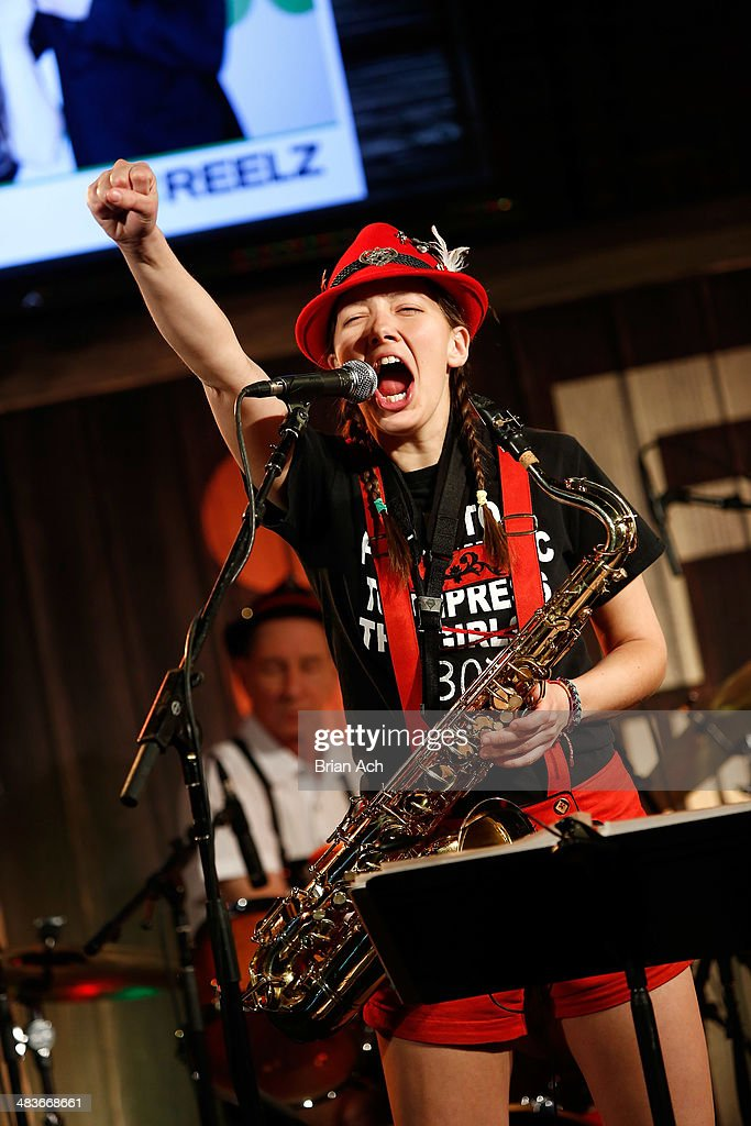 Musician Emily Burke of The Chardon Polka Band performs at the REELZ Channel upfront presentation at Hudson Hotel on April 9, 2014 in New York City.