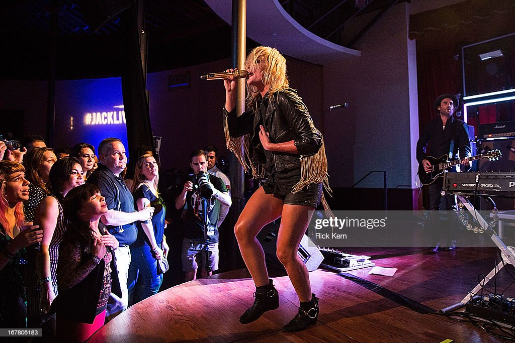 Musician <a gi-track='captionPersonalityLinkClicked' href=/galleries/search?phrase=Emily+Haines&family=editorial&specificpeople=557275 ng-click='$event.stopPropagation()'>Emily Haines</a> (L) and James Shaw of Metric perform as part of the Jack Daniel's 'Live at the Landmark' concert series benefitting Silver & Black Give Back at the Pearl Stable on April 29, 2013 in San Antonio, Texas.