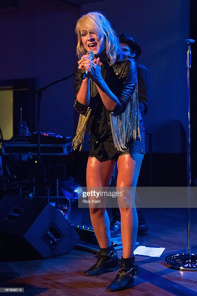 Musician Emily Haines of Metric performs as part of the Jack Daniel's 'Live at the Landmark' concert series benefitting Silver & Black Give Back at the Pearl Stable on April 29, 2013 in San Antonio, Texas.