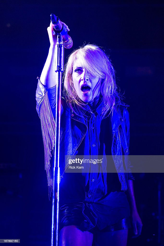 Musician <a gi-track='captionPersonalityLinkClicked' href=/galleries/search?phrase=Emily+Haines&family=editorial&specificpeople=557275 ng-click='$event.stopPropagation()'>Emily Haines</a> of Metric performs in concert at Stubb's Bar-B-Q on May 1, 2013 in Austin, Texas.