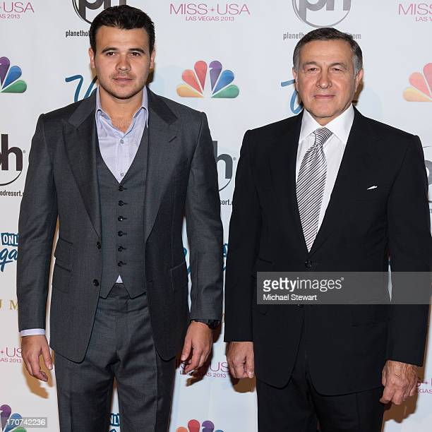 Musician Emin and Aras Agalarov arrive at the 2013 Miss USA pageant at Planet Hollywood Resort Casino on June 16 2013 in Las Vegas Nevada