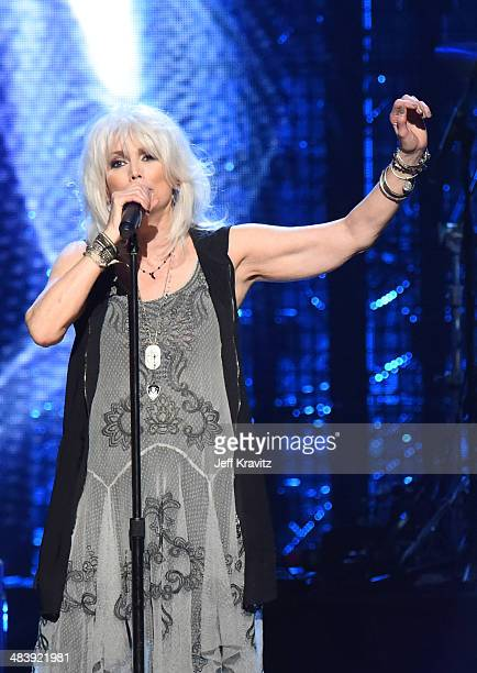 Musician Emmylou Harris performs onstage at the 29th Annual Rock And Roll Hall Of Fame Induction Ceremony at Barclays Center of Brooklyn on April 10...