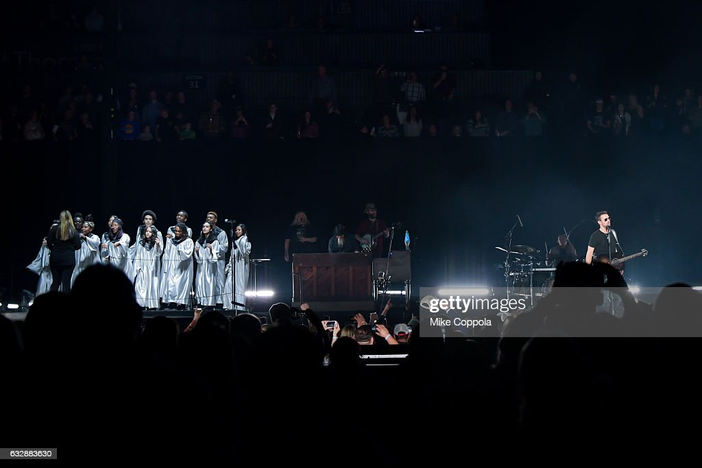 Musician Eric Church (R) performs during his Holdin' My Own Tour at Barclays Center on January 27, 2017 in the Brooklyn borough of New York City.