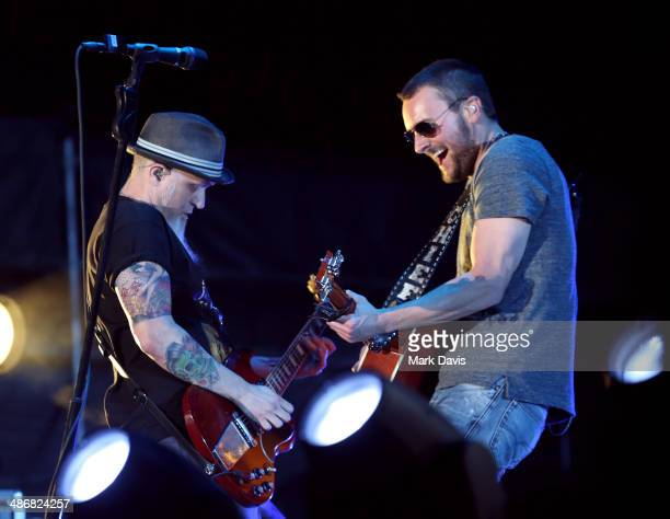 Musician Eric Church performs onstage during day 1 of 2014 Stagecoach California's Country Music Festival at the Empire Polo Club on April 25 2014 in...