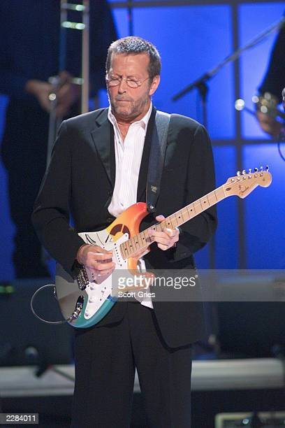 Musician Eric Clapton performing at The Concert for New York City to benefit the victims of the World Trade Center disaster at Madison Square Garden...
