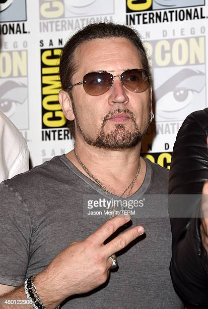 Musician Eric Singer of Kiss attends the ScoobyDoo and Kiss Rock and Roll Mystery Press Room during ComicCon International 2015 at the at Hilton...