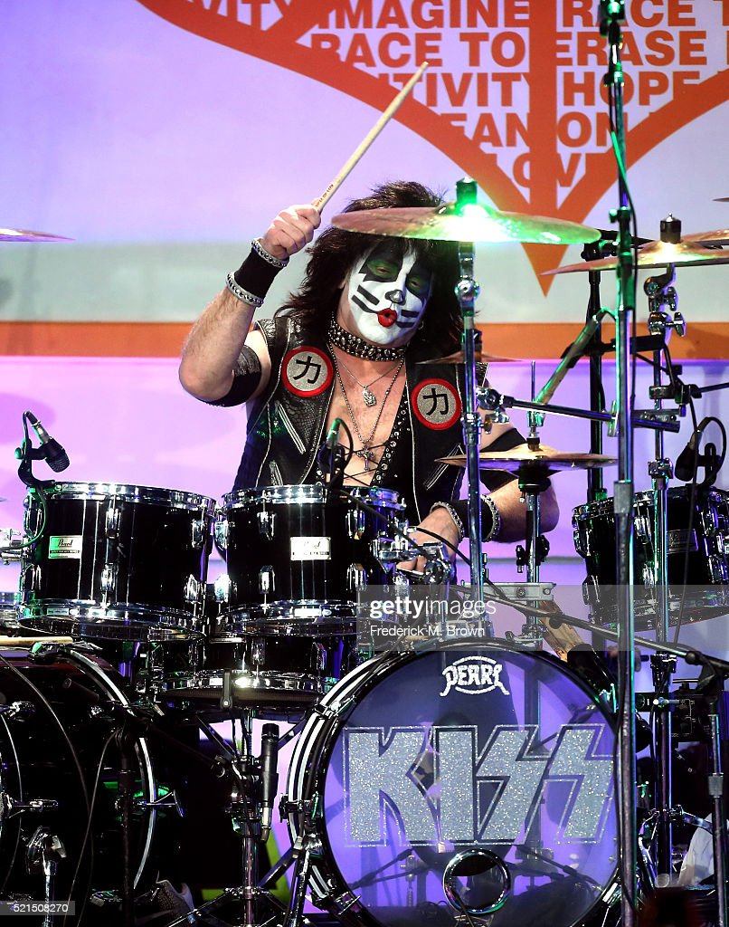 Musician Eric Singer of KISS performs onstage during the 23rd Annual Race To Erase MS Gala at The Beverly Hilton Hotel on April 15, 2016 in Beverly Hills, California.