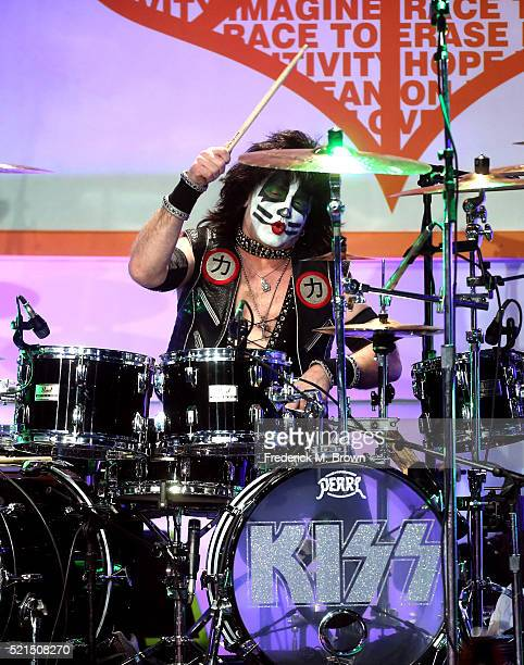 Musician Eric Singer of KISS performs onstage during the 23rd Annual Race To Erase MS Gala at The Beverly Hilton Hotel on April 15 2016 in Beverly...