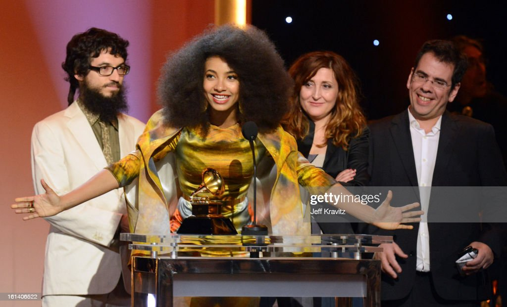 Musician <a gi-track='captionPersonalityLinkClicked' href=/galleries/search?phrase=Esperanza+Spalding&family=editorial&specificpeople=4151466 ng-click='$event.stopPropagation()'>Esperanza Spalding</a> (C) accepts an award onstage during the 55th Annual GRAMMY Awards at Nokia Theatre L.A. Live on February 10, 2013 in Los Angeles, California.