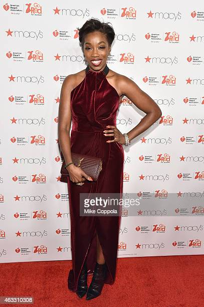 Musician Estelle attends the Go Red For Women Red Dress Collection 2015 presented by Macy's fashion show during MercedesBenz Fashion Week Fall 2015...