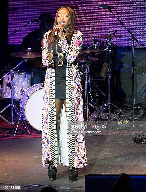 Musician Estelle performs during the Rock In A Free World concert at Highline Ballroom on September 28 2015 in New York City