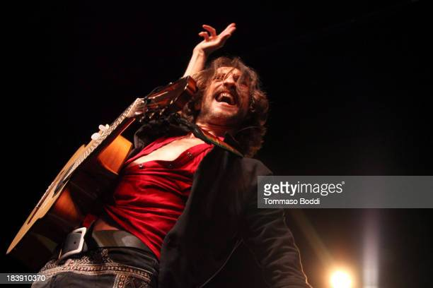 Musician Eugene Hutz of Gogol Bordello performs at The Fonda Theatre on October 9 2013 in Los Angeles California