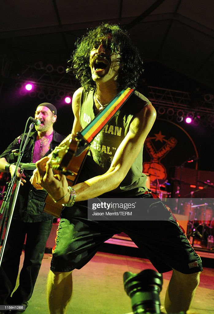 Musician Eugene Hutz of Gogol Bordello performs on stage during Bonnaroo 2011 at The Other Tent on June 11, 2011 in Manchester, Tennessee.